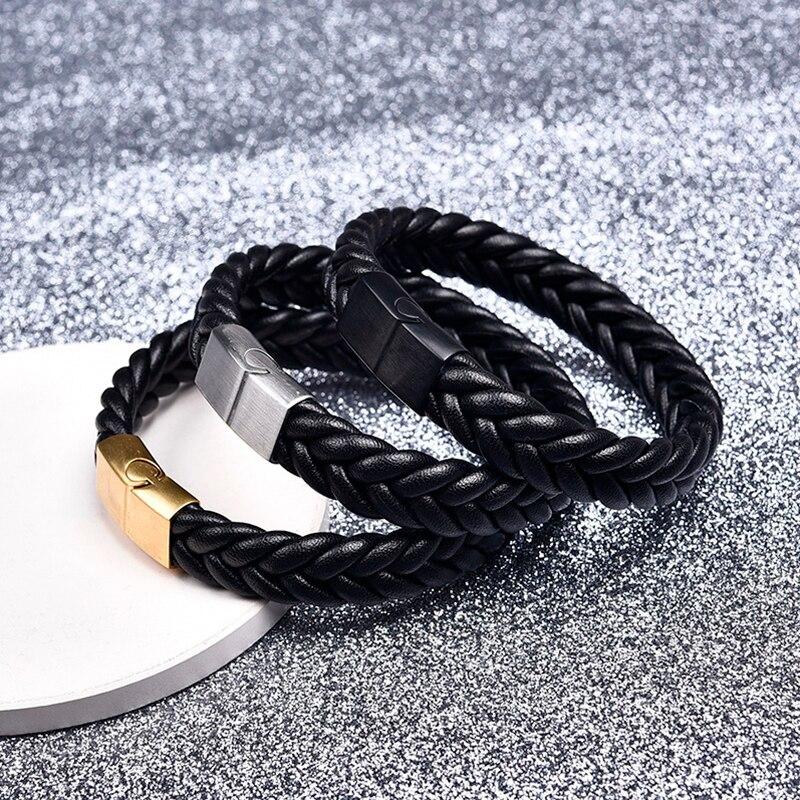 Jiayiqi moda trenzado cuero pulseras oro Acero inoxidable corchete pulseras brazaletes negro/Brown cuerda cadena pulsera punky