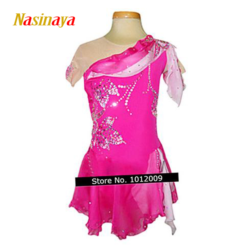 Customized Costume Ice Skating Figure Skating Dress Gymnastics Rose Red Adult Girl Show Skirt Performance Competition Rhinestone vik max adult kids dark blue leather figure skate shoes with aluminium alloy frame and stainless steel ice blade