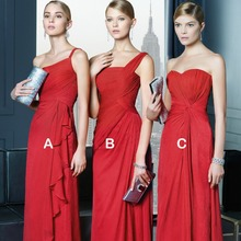 Elegant New Long Red Bridesmaid Dresses 2016 Formal Wedding Party Dress Prom Gown Custom Size vestido de festa H517