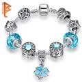 Regalo de navidad Azul Cristal Clover Charm Pulsera para Las Mujeres Con los Granos de Cristal de Murano Pulsera Europea Apta DIY Joyería Amistad
