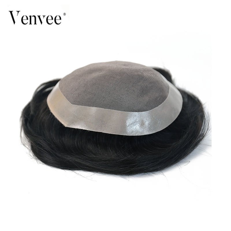 Hair Toupee Men Natural Looking Mono System 100% European Human Hair Toupee PU Replacement System 1# 1B# 3# Color VenVee Remy