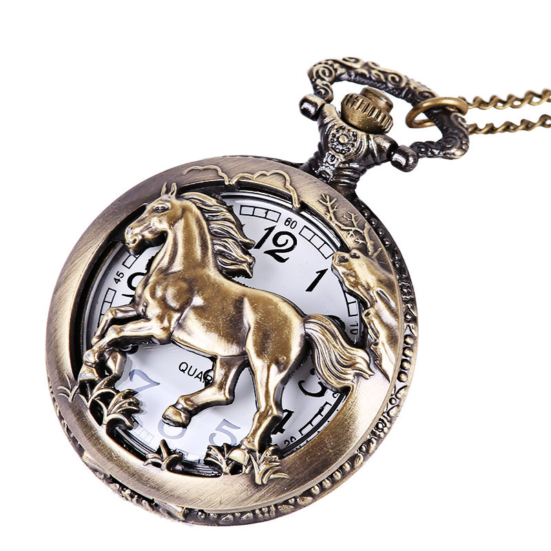 Fashion Bronze Mens Womens Pocket Watch Fine Horse Retro Style Necklace Chain Quartz Pocket Fob Watches Unisex Relogio Masulino