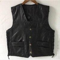 New Men Waistcoat Genuine Leather Leisure Reporters Suit Men Harley Motorcycle leather vest Tops