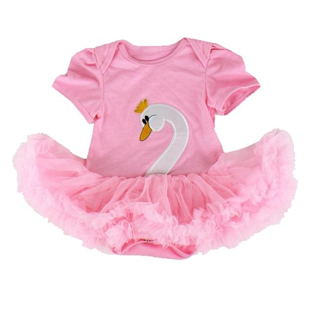 Cisne rosa Cuerpo de Encaje Tutu Vestido Del Mameluco Del Bebé de Manga Corta Ropa Bebe Recién Nacido Mameluco Del Bebé Del Mono de Los Niños Ropa Infantil ropa