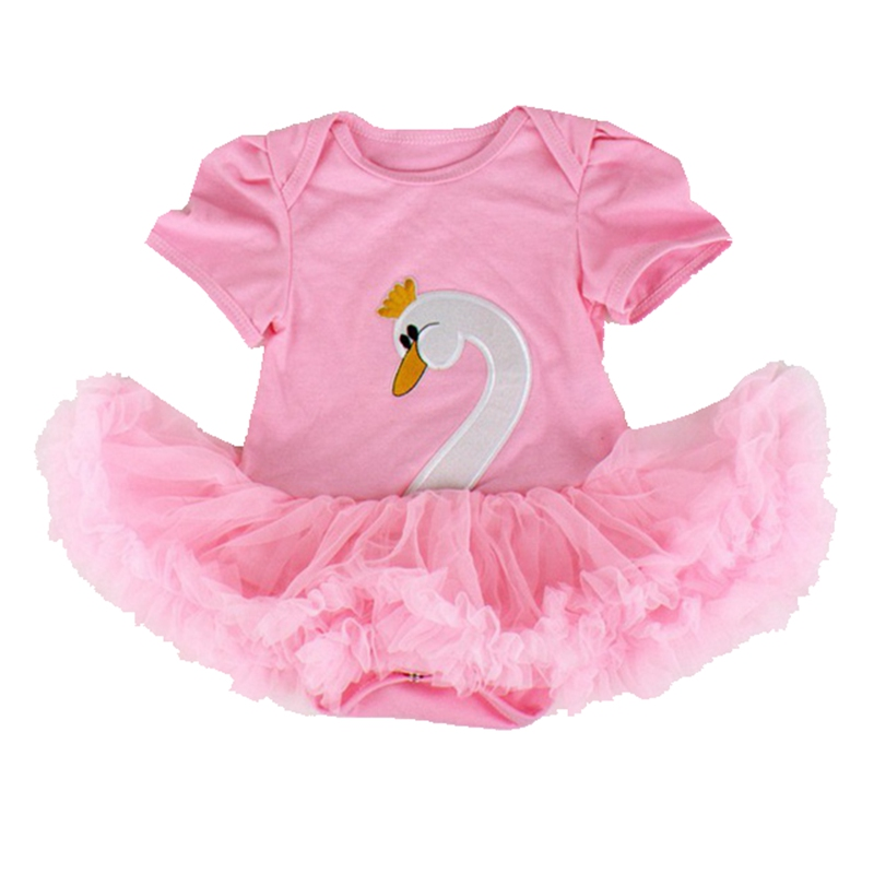 Pink Swan Body Tutu Lace Baby Romper Dress Short Sleeve Ropa Bebe Newborn Baby Girl Romper Jumpsuit Kids Clothes Infant Clothing cotton baby rompers infant toddler jumpsuit lace collar short sleeve baby girl clothing newborn bebe overall clothes