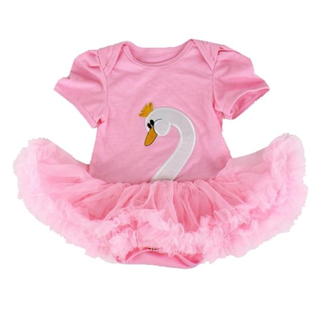 ef2e58984f76 Pink Swan Body Tutu Lace Baby Romper Dress Short Sleeve Ropa Bebe Newborn  Baby Girl Romper