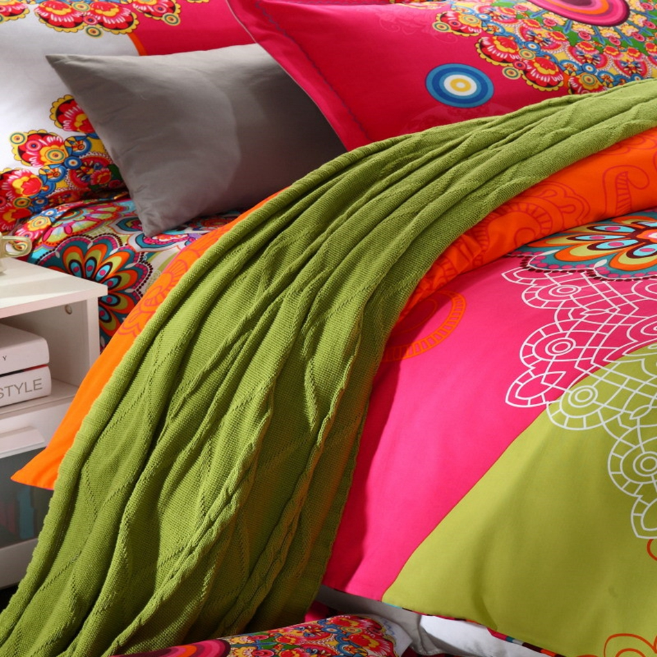 Купить с кэшбэком Mandala Bohemian Style Boho Reactive Printed Bedsheet Duvet Cover Pillowcase Adult Double Bed Queen King Size 4pcs Bedding Set
