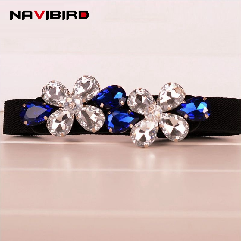 WomenS Elegant Floral Rhinestone Belts Narrow Waist Strap Designer Elastic Belt Ladies Blouse Dress Wasitband Cinturon Mujer