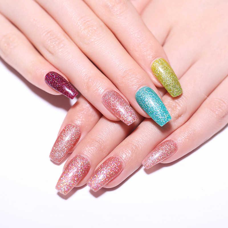 LILYCUTE 7ml Gel holographique vernis à ongles néon paillettes nues points forts imbiber UV Gel de LED longue durée vernis à ongles