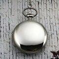 Старинные бронзы ретро серебро гладкая поверхность длинная цепь ожерелье pockert часы