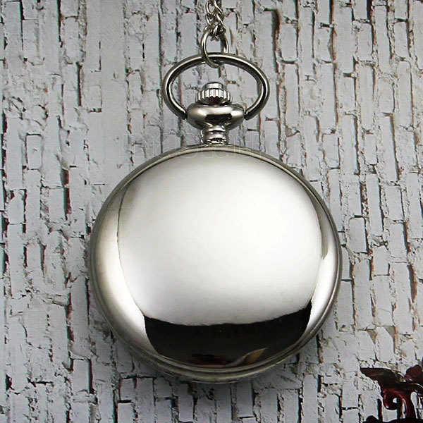 Vintage Bronze Retro Silver Smooth Cover Long Chain Pendant Necklace Pockert Watch