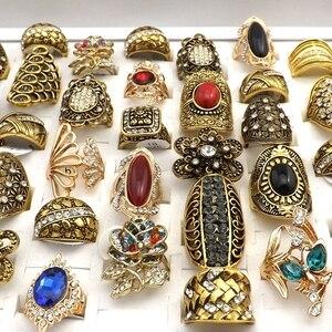 Image 2 - 50 sztuk złoty kolor styl barokowy Vintage Rhinestone pierścionki mieszane wzory dla kobiet