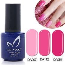 MONASI Free Shipping Deep Rose Red Pink UV Gel Nail Polish Shiny Surface Top Quality DA073
