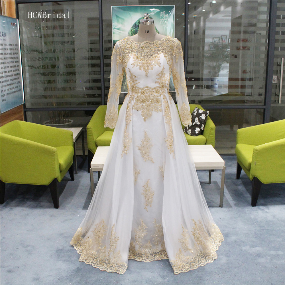 New 2020 White Arabic Evening Dress Long Sleeve A Line Gold Beaded Lace Tulle Prom Gowns Custom Made Women Wedding Party Dresses