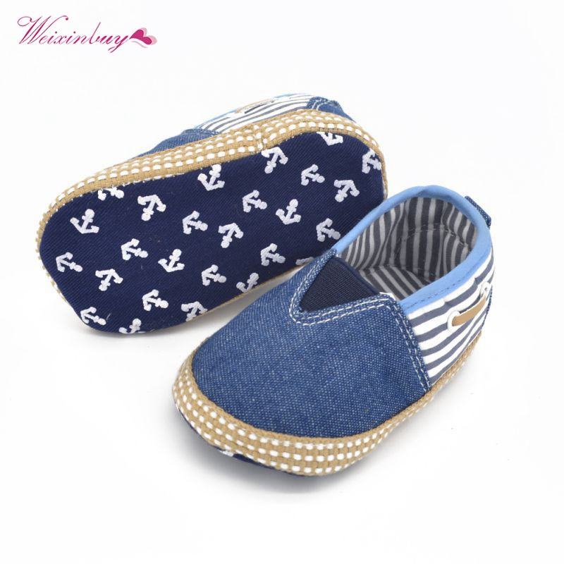 Baby Denim Striped First Walker Infant Soft Sole Casual Slip-On Toddler Shoes