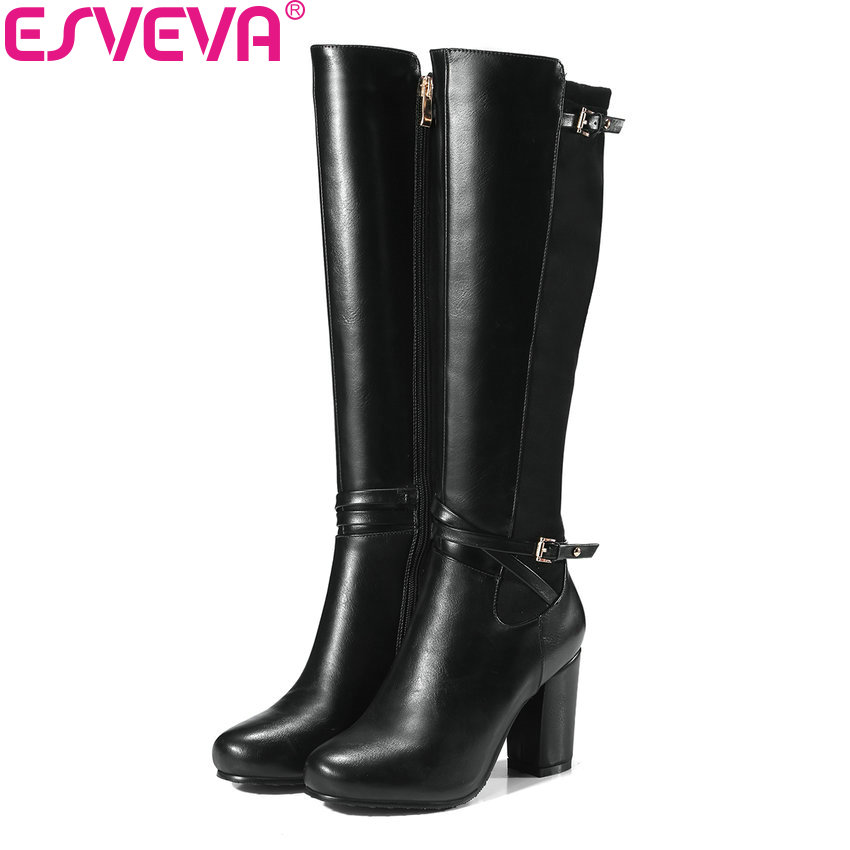 ESVEVA 2018 Women Boots Round Toe Western Style PU Warm Fur Knee-high Boots Square High Heels Fashion Ladies Boots Size 34-43 doratasia big size 34 43 women half knee high boots vintage flat heels warm winter fur shoes round toe platform snow boots