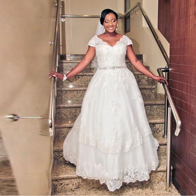 Lace Plus Size Wedding Dresses Short Sleeve V Neck Beaded Waist A