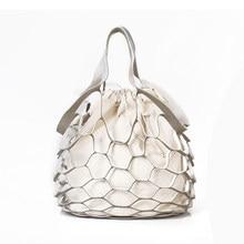 e99e3eee2e New fashion Hollow Out Women Handbag Vacation Net Beach Shoulder Bag PU  Leather drawstring Composite Bag