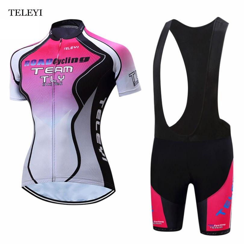 2017 TELEYI Team Women Bike Riding Short Sleeve Ropa Ciclismo Outfits Cycling Jersey Bib Shorts Sets XS-4XL arsuxeo breathable sports cycling riding shorts riding pants underwear shorts