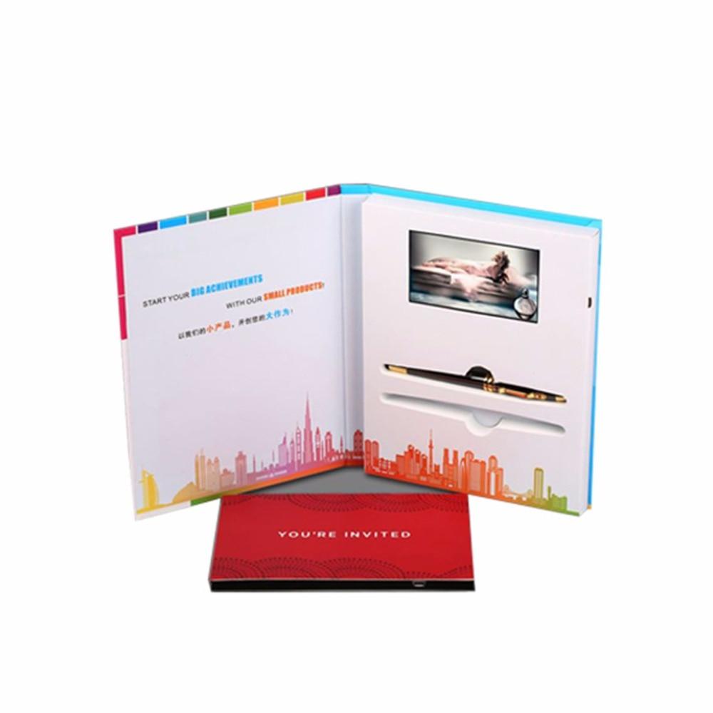 """Custom design produktion hardcover 4,3 """"Video Broschüre Karten für Digitale Werbung Player Bildschirm Video Gruß berufung Karte"""