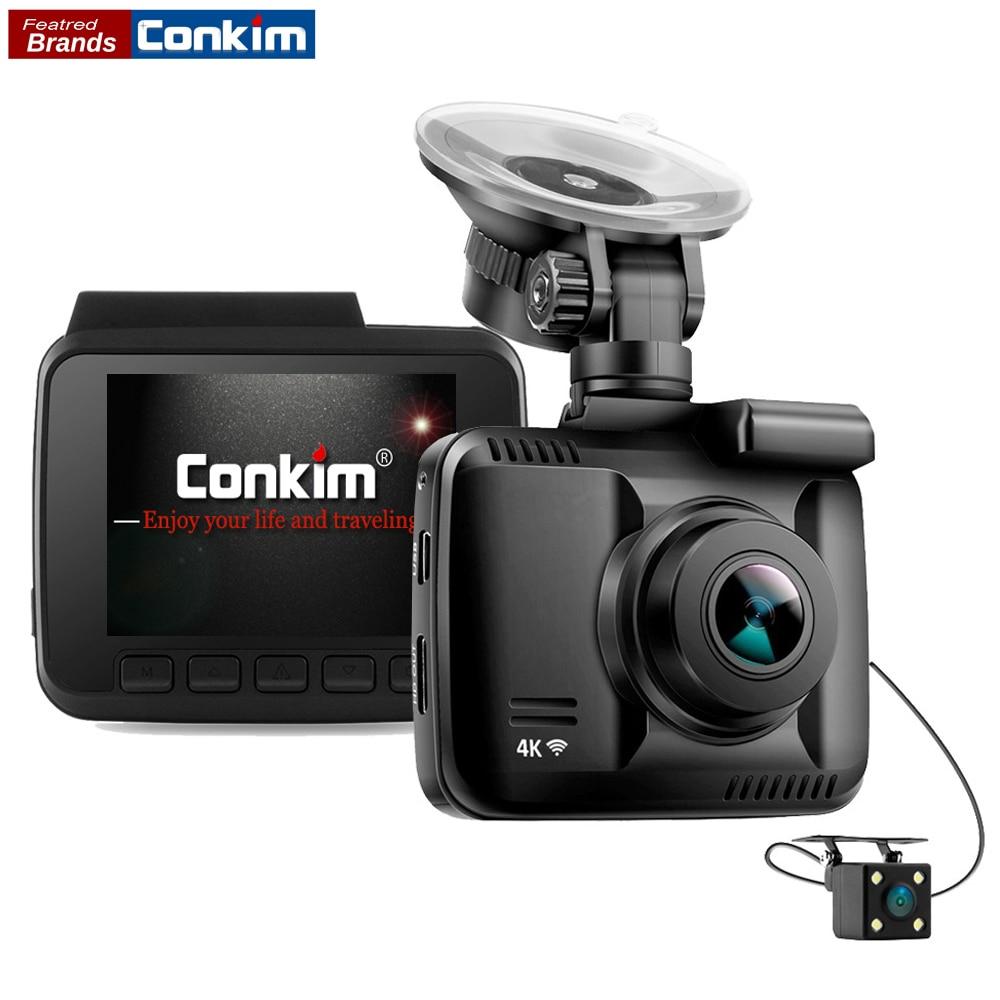 Conkim DVR 2 Камера s с gps Wi-Fi приложение тире Камера ultra 4k Super HD Видеорегистраторы для автомобилей Видео Регистраторы Двойной объектив 1080 P 720 P реги...