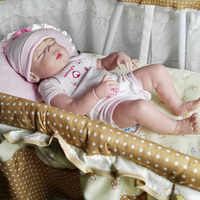 55cm Soft Full Body Silicone Reborn Dolls Girl Doll 22inch Lifelike BeBe Reborn Babies Toy Menina Bonecas Brinquedos With Basket