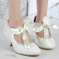 Fashion Ivory Round Toe Pumps Satin Bridal Shoes Lace Wedding Dress Shoes Bowtie Evening Party Shoes