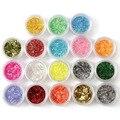 18 Цвета Ленты Ногтей Блеск Порошок Nail Art Украшения Мода ногтей украшение Для 3D Nail Art