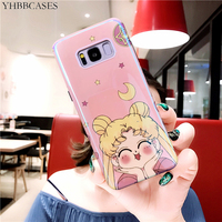 YHBBCASES For Samsung S10 Plus S8 S9 Case Sailor Moon Cartoon Soft Cover For Samsung Galaxy Note 8 9 Blu-ray Shiny Pink Cases