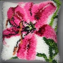 Freies Verschiffen DIY Mat Hand Kit Unfinished Häkeln Teppich Garn Kissen Haken Teppich Kit Kissen Stickerei Gesetzt Lilie Blumen