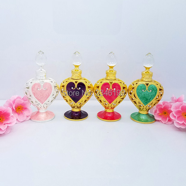 12ml Heart-Shape Glass Crystal Essential oil Dropper Bottle Pigment Perfume Container Vials Portable Empty Cosmetic Packaging 4pcs 30ml frosted glass bottle empty dropper bottle with wooden box gold cap essential oil bottle perfume subpackage jar
