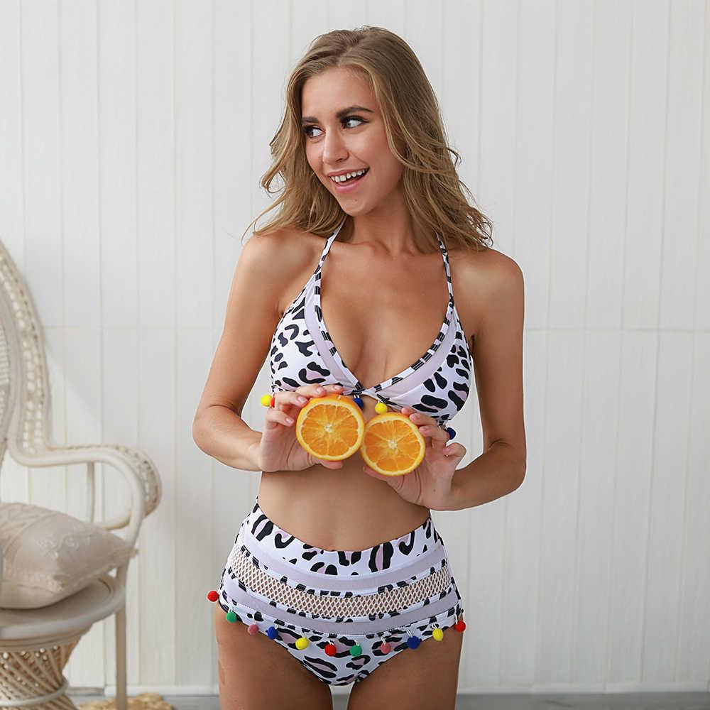 Baju Renang Rumbai Trim Top Halter Tali Warna-warni Baju Renang Mesh Pakaian Pakaian Pesta Wanita Baju Renang Garis Bikini Set