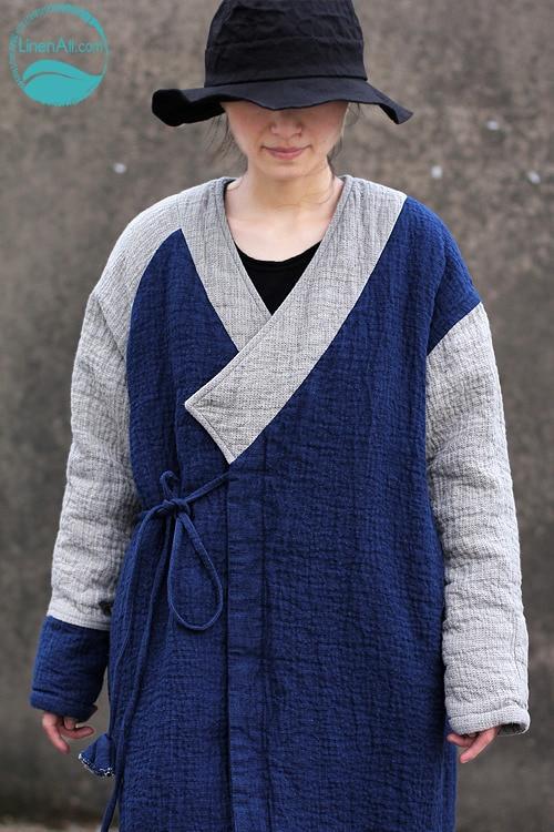 LinenAll women's parkas, Blue, thickening kanaff deep V-neck linen button strap loose thermal wadded jacket outerwear yijiu
