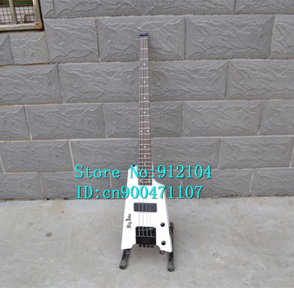 free shipping new 4 strings headless electric bass guitar in white with basswood body  F-1097+foam boxfree shipping new 4 strings headless electric bass guitar in white with basswood body  F-1097+foam box
