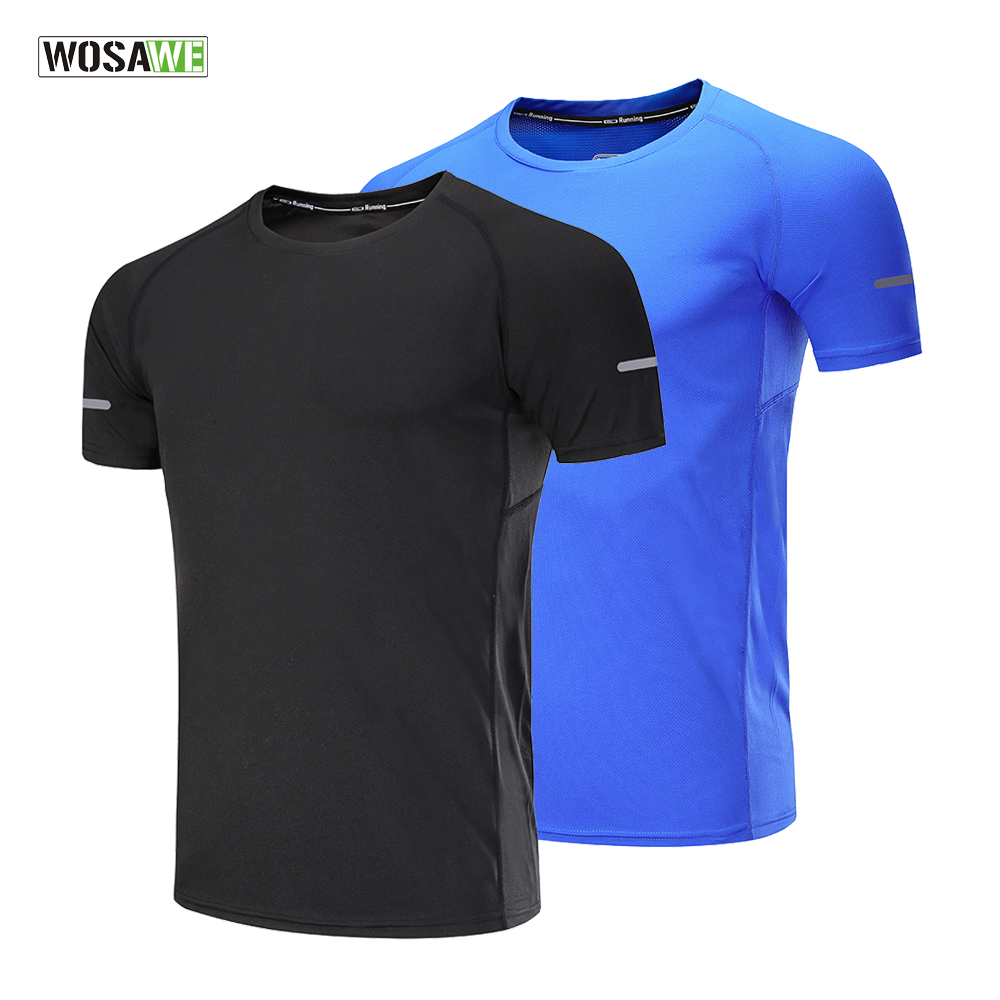 US $8.12 54% OFF|WOSAWE Sport Shirt Men Quick Dry Short Sleeve T Shirts Sportswear Fitness Tight Tennis Soccer Jersey Gym Jogging Running Shirt in