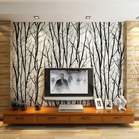 Black And White Branches Wallpaper Rolls For Tv Sofa Background Wall Paper Wood Grain Vinyl Wallpaper
