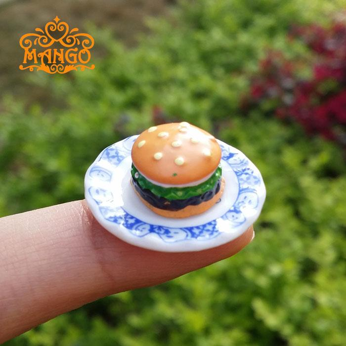 Dollhouse Miniature 1:12 cake shop Handmade food Hamburger kitchen Supply Deco 10 pcs  Free Shipping