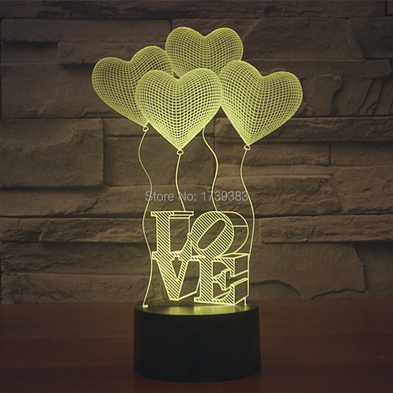 Table Lamp 1 For Heart Led Lovers Color 3d Shipping Us11 62 Charge 7 Light Luminaria 15Off Piece Love free Usb With In Night Multi RL45jq3A
