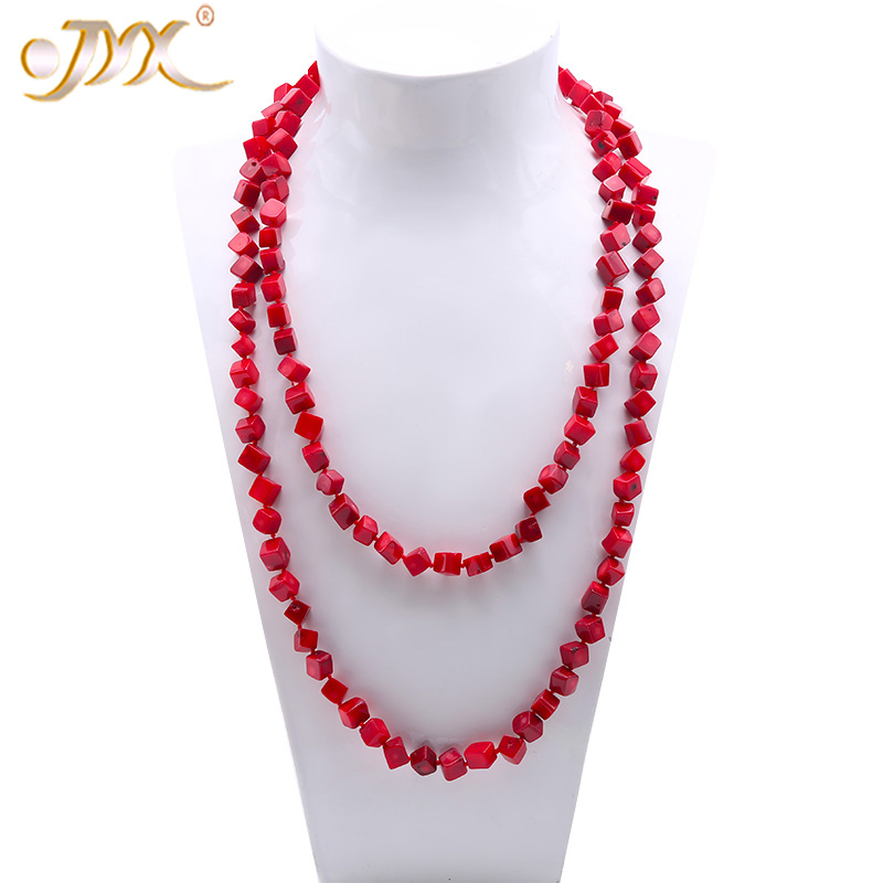JYX Fine 7-9mm Red Shaped Sea Bamboo Coral Long Necklace 54