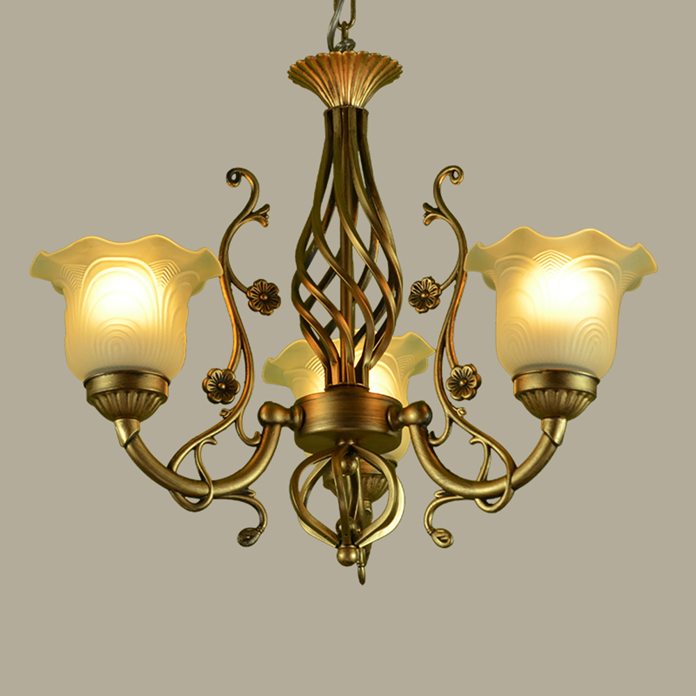 LED  Wrought Iron Vintage Home Lighting Living Room Chandelier 110-220v  Nordic Style Glass Lamp E27 Hanging Lighting Fixtures korean princess wrought lamp iron bedroom led lamp american pastoral style living room children chandelier