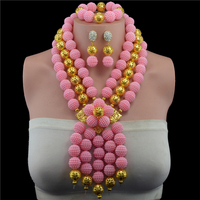 Plastic Pearl Ball Fantastic Pink African Wedding Beads Jewelry Set Handmade Crystal Statement Necklace Set Pendant for Bride