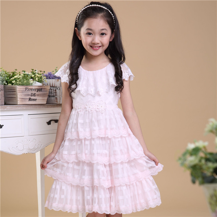 Us 20 97 Girls Summer Dress 5 12 Years Kids Cute White Lace Flowers Layered Wedding Party Princess Dresses Child High Quality Clothes 520 In Dresses