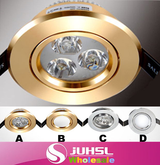 AC85-265V 3W Recessed LED Ceiling  Gold or silver lamp body Down Lamp LED spot  Indoor lighting