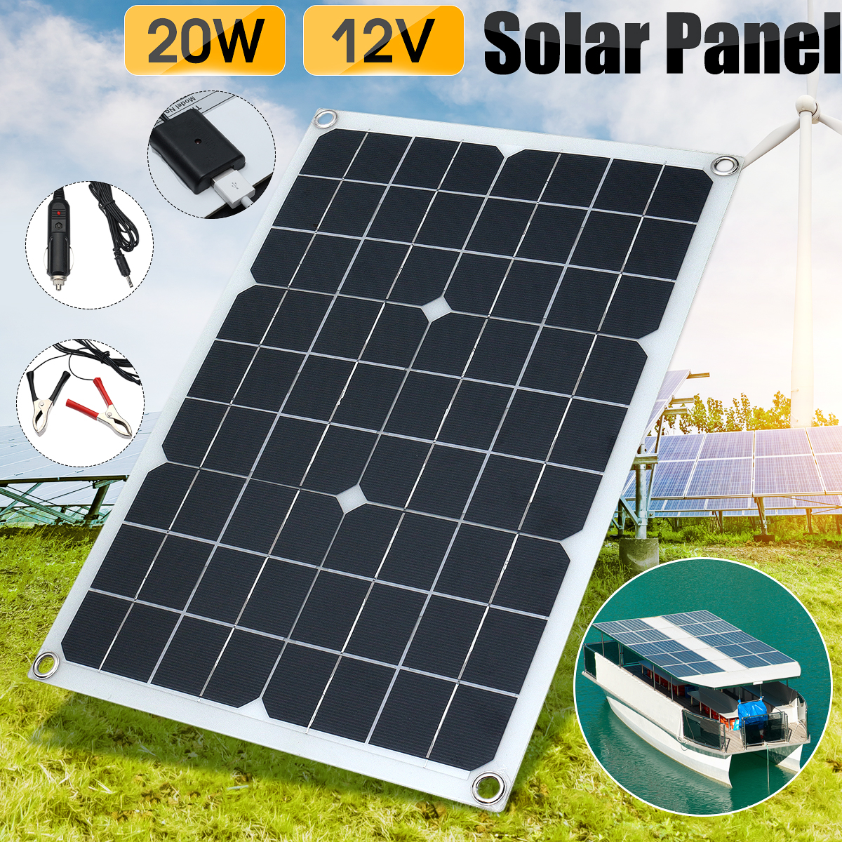 20W 12V/5V Waterproof Solar Panel Kit USB Car Charger Emergency Light Camping With Cable Crocodile Clip Solar Energy Batterry diy 5v 2a voltage regulator junction box solar panel charger special kit