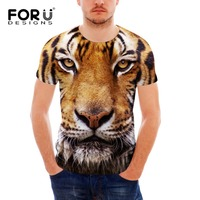 FORUDESIGNS Cool Tiger T Shirt for Men 3D Animal Leopard Tshirt Summer Men's Fashion Tops Male Casual Tee Shirts Teen Clothes