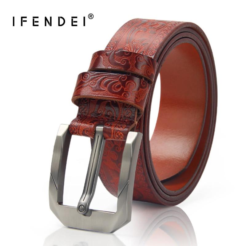 IFENDEI Belt Men Genuine Brown Leather Belt Luxury Business Metal Pin Buckle Belts Casual Black Red