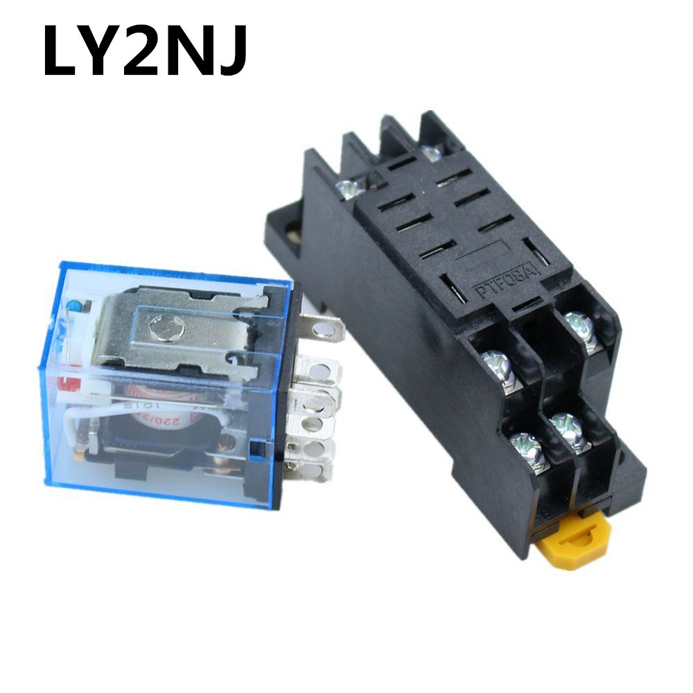 DEVMO 220VAC MY2NJ Miniature Relay DPDT 8 Pins 10A HH52P JQX-13F with PYF08A Socket