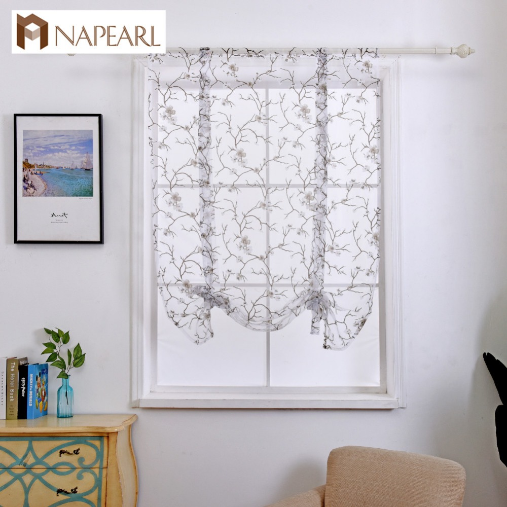NAPEARL Floral Balloon Window Blinds Kitchen Curtains Tie