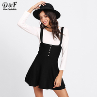 Dotfashion Spaghetti Strap Suiting Buttons Flare Suspenders Skirt 2017 Women Black Cute Bottoms Autumn Casual Short Skirt