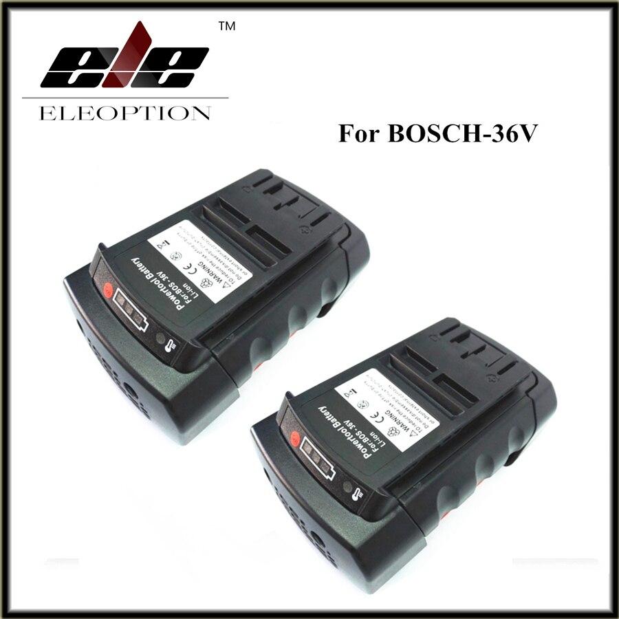 2 pcs 36V 3.0Ah 3000mAh Li-ion Power Tool Battery Replacement for Bosch 2 607 336 108 2 607 336 108 BAT810 BAT836 BAT840 D-70771 eleoption 36v 3 0ah li ion power tool battery replacement for bosch 2 607 336 108 2 607 336 108 bat810 bat836 bat840 d 70771